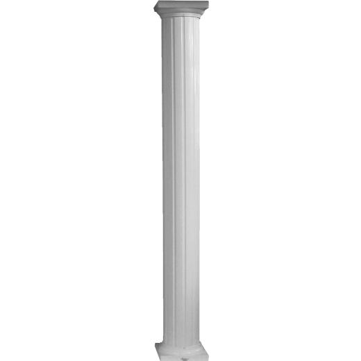 Crown Column 6 In. x 8 Ft. White Powder Coated Round Fluted Aluminum Column
