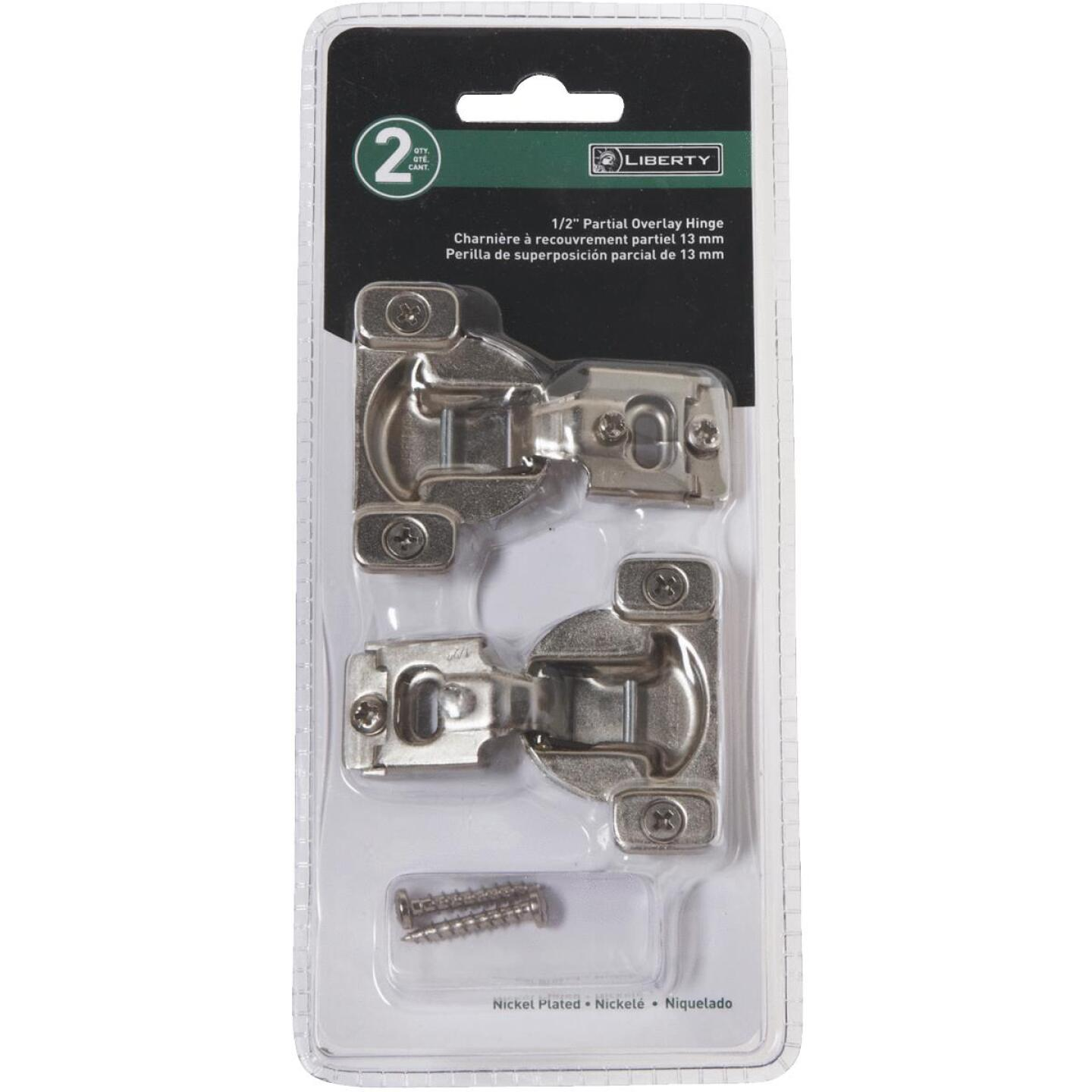 Liberty Overlay Face-Frame Nickel Plated 1/2 In. 105 Degree European Hinge, (2-Pack) Image 2