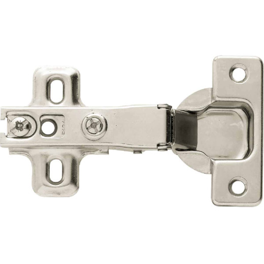 Liberty Full Overlay Frameless Nickel Plated 35 mm 110 Degree European Hinge, (2-Pack)