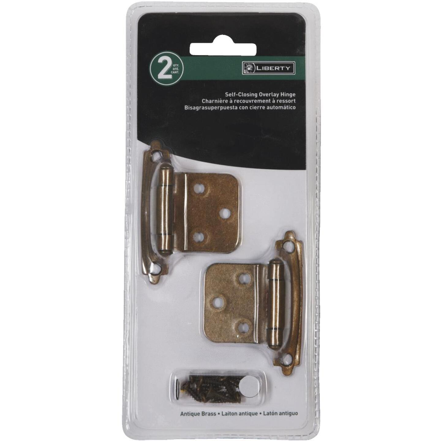 Liberty Antique Brass Self-Closing Overlay Hinge (2-Pack) Image 2