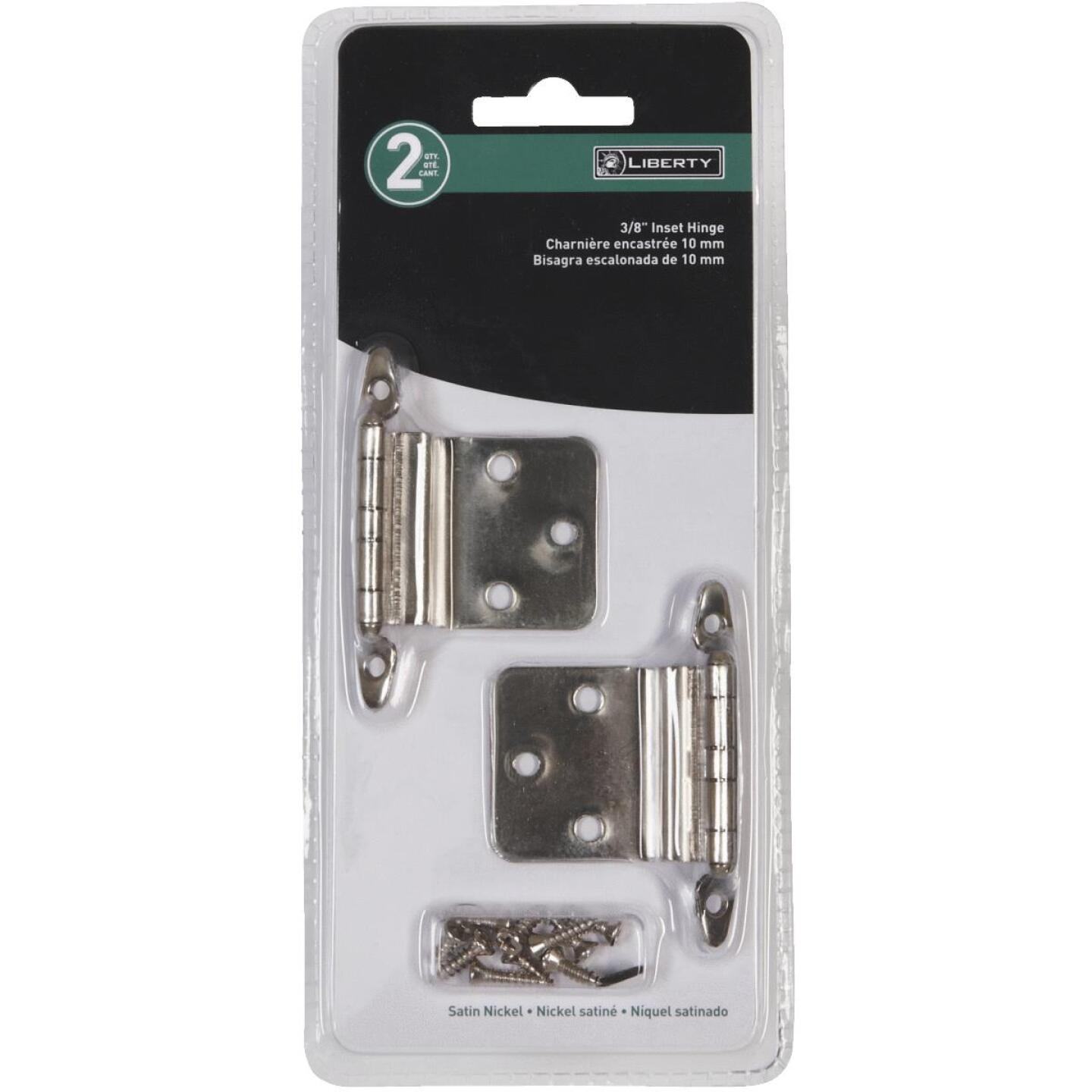 Liberty Satin Nickel 3/8 In. Inset Hinge, Without Spring, (2-Pack) Image 2