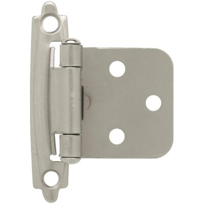 Liberty Satin Nickel Self-Closing Overlay Hinge (2-Pack)