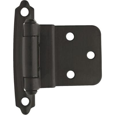 Amerock Functional Hardware 3/8 In. Flat Black Self-Closing Face Mount Inset Hinge (2 Pack)