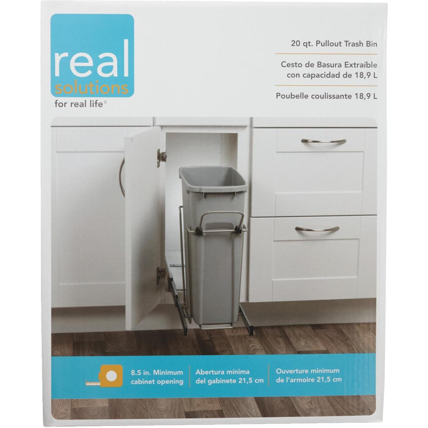 Knape & Vogt Real Solutions 20 Qt. In-Cabinet Single Pull-Out Trash Can Image 2