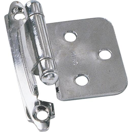 Laurey Satin Nickel Self-Closing Overlay Hinge with Wood Screws (2-Pack)