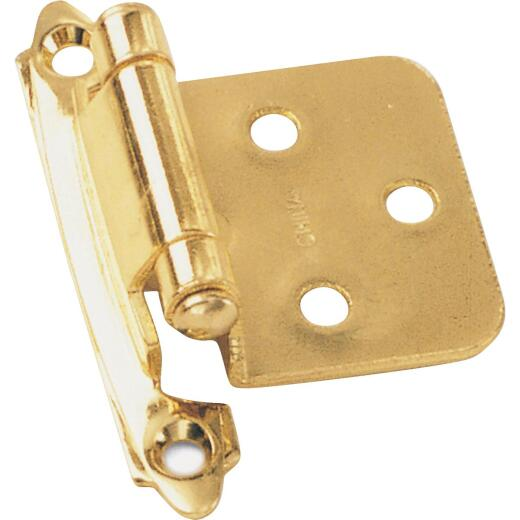 Laurey Polished Brass Self-Closing Overlay Hinge with Wood Screws (2-Pack)