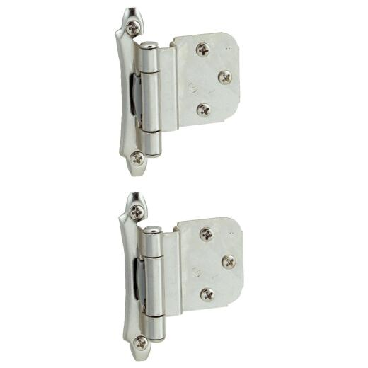 Amerock Polished Chromium 3/8 In. Self-Closing Inset Hinge, (2-Pack)