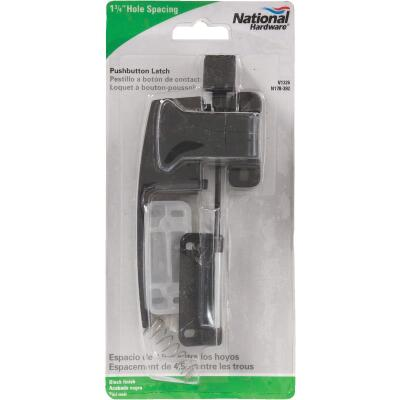 National Black Push Button Latch with 1-3/4 In. Hole Spacing
