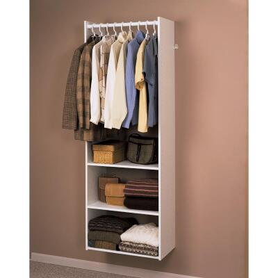 Easy Track Hanging Tower Wall-Mounted Shelving Unit, White