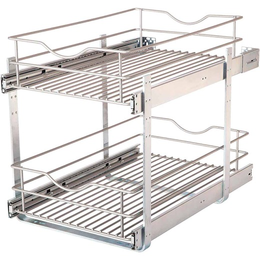 Knape & Vogt Real Solutions 14 In. Double Tier Slide Out Multi-Use Basket Cabinet Organizer