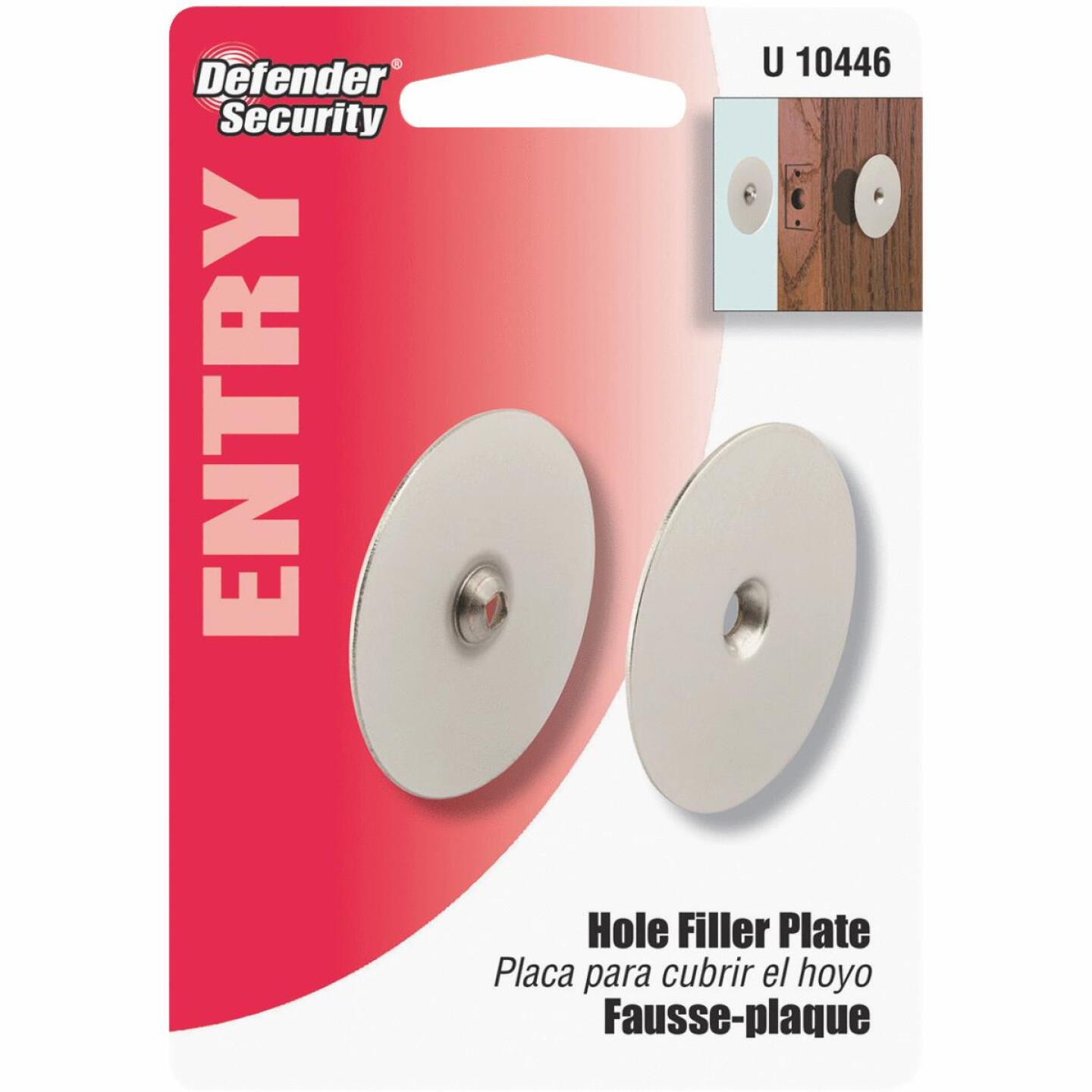 Defender Security 2-5/8 In. Satin Nickel Hole Cover Plate Image 2