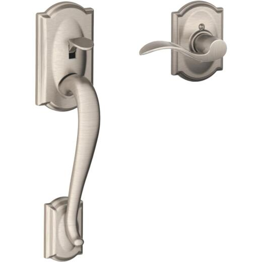 Schlage Camelot Satin Nickel Entry Door Lever Handleset