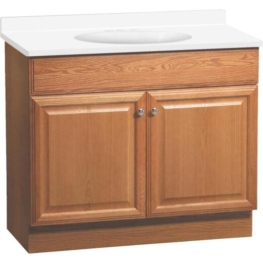 Continental Cabinets Richmond Oak 36-1/2 In. W x 35-1/4 In. H x 18-1/2 In. D Vanity with Cultured Marble Top