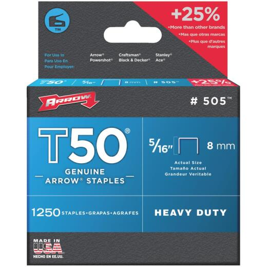 Arrow T50 Heavy-Duty Staple, 5/16 In. (1250-Pack)
