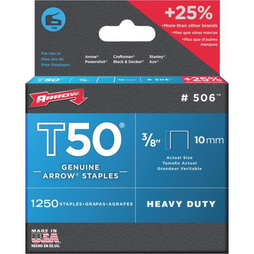 Arrow T50 Heavy-Duty Staple, 3/8 In. (1250-Pack)