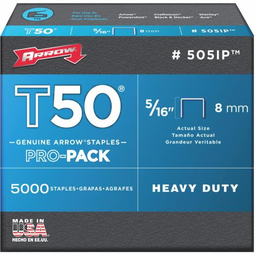 Arrow T50 Pro-Pack Heavy-Duty Staple, 5/16 In. (5000-Pack)