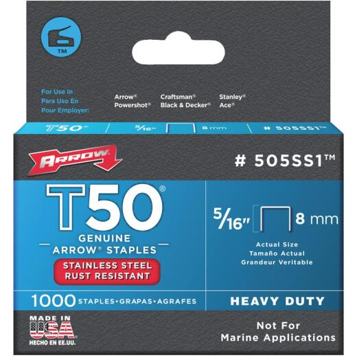 Arrow T50 Heavy-Duty Stainless Steel Staple, 5/16 In. (1000-Pack)