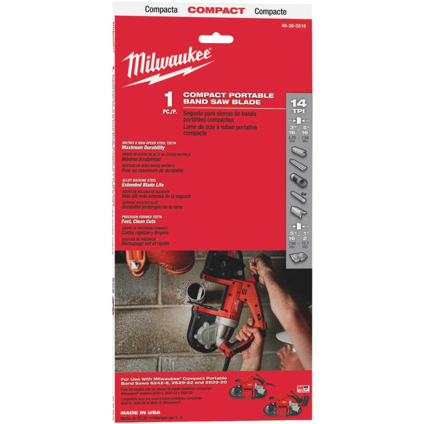 Milwaukee 35-3/8 In. x 1/2 In. 14 TPI Compact Band Saw Blade Image 1