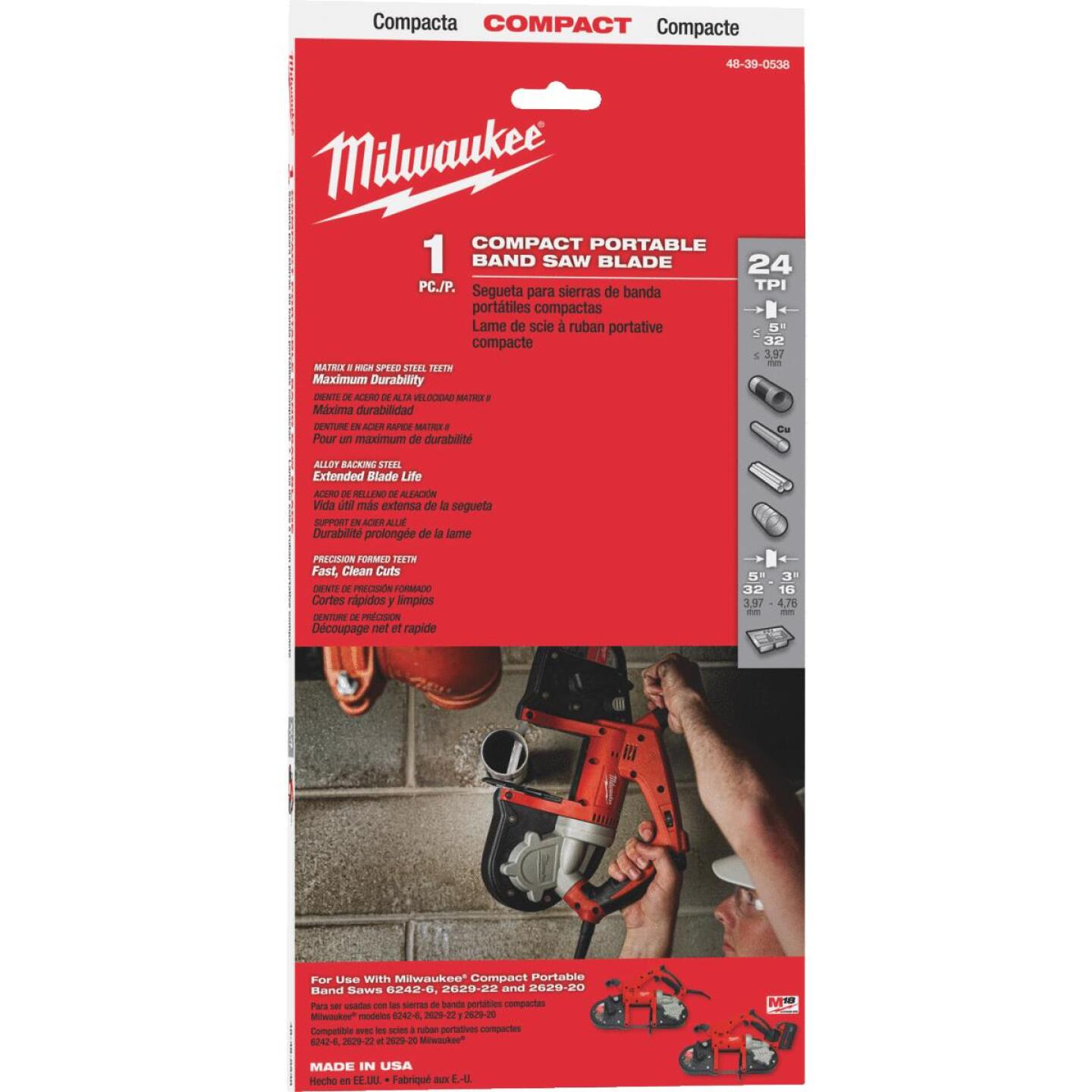 Milwaukee 35-3/8 In. x 1/2 In. 24 TPI Compact Band Saw Blade Image 1
