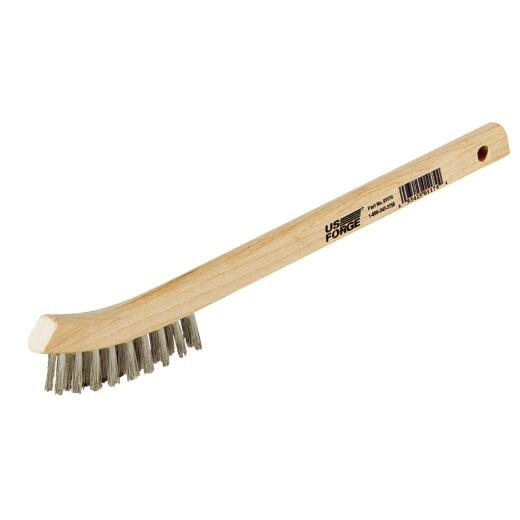 Forney 7-3/4 In. Curved Wood Handle Wire Brush with Stainless Steel Bristles