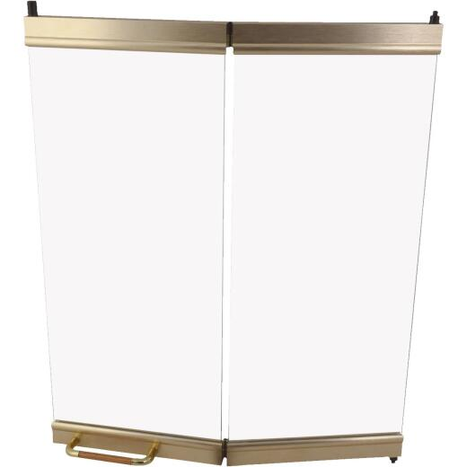 Comfort Flame 36 In. Bi-Fold Brushed Brass Fireplace Doors