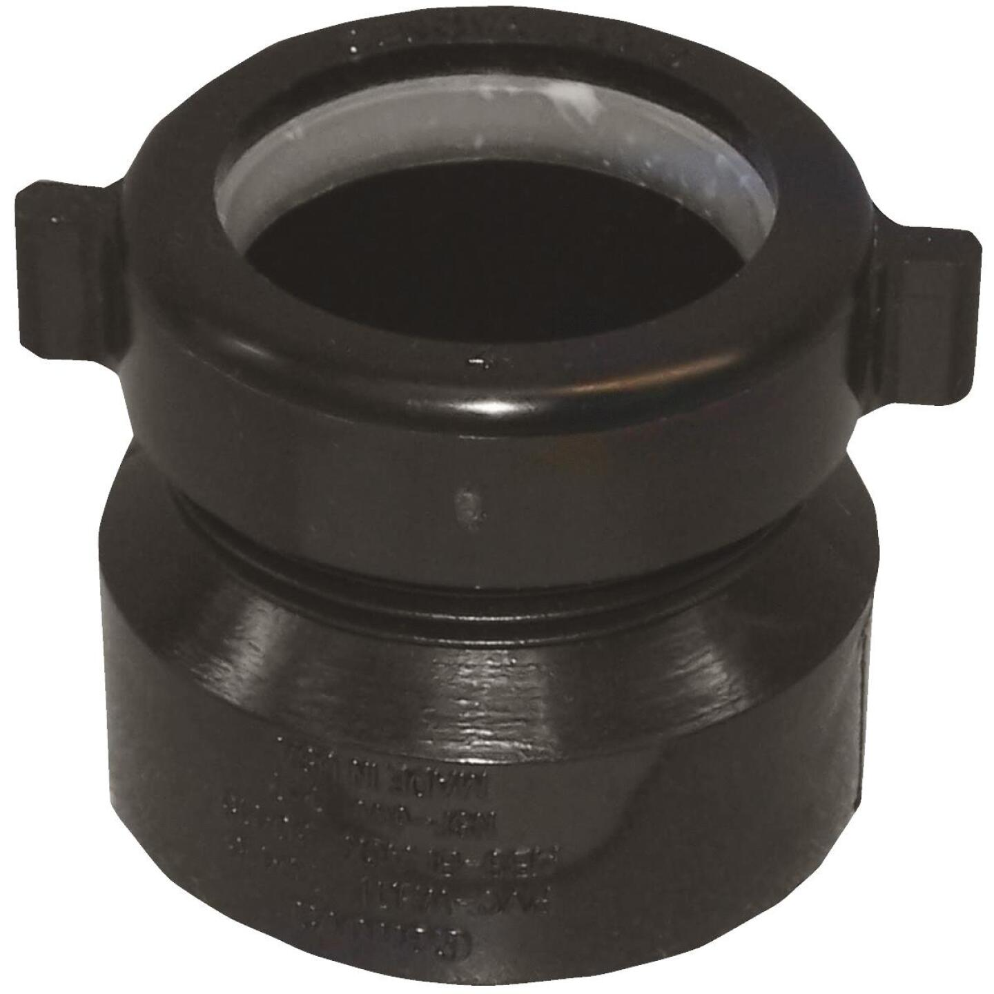 Charlotte Pipe 1-1/2 In. x 1-1/2 In. or 1-1/4 In. HUB x Tubular Black ABS Waste Adapter Image 1