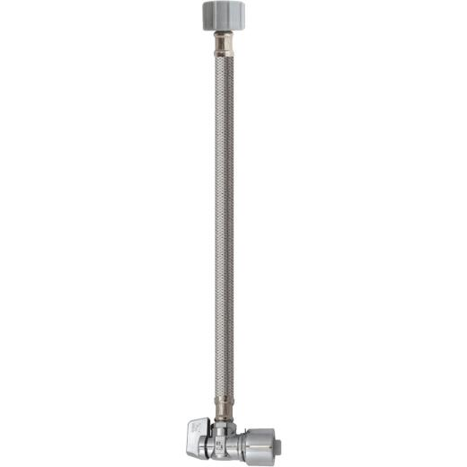Keeney 5/8 In. x 20 In. Stainless Steel Quick Lock Toilet Supply Tube with Angled Quarter Turn Valve