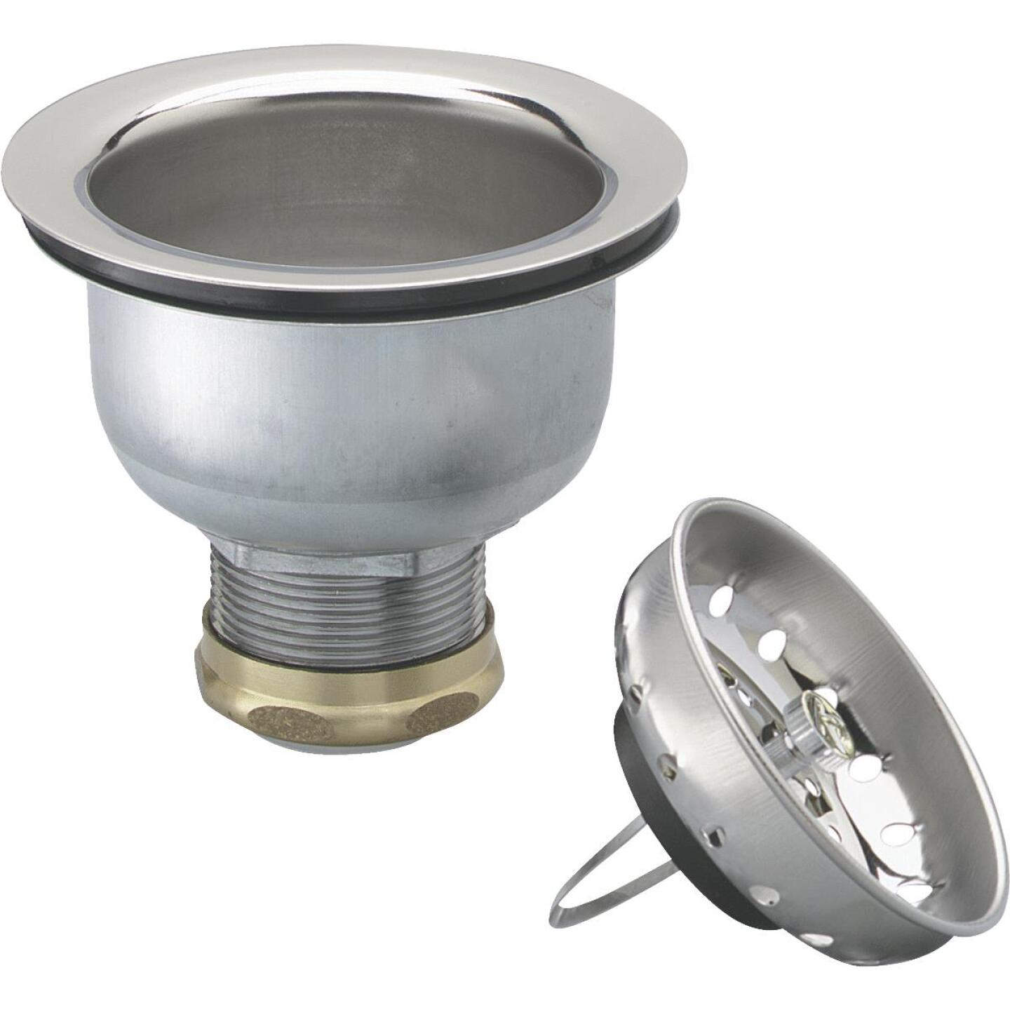 Keeney 3-1/2 In. to 4 In. Stainless Steel Clip Closure Basket Strainer Assembly Image 1