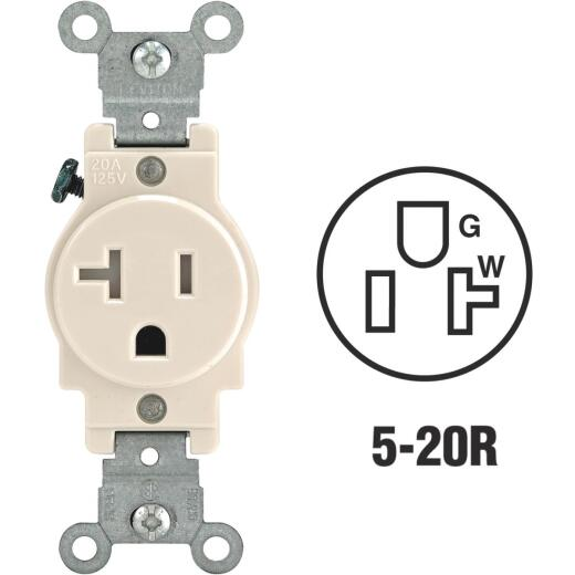Leviton 20A Light Almond Commercial Grade 5-20R Tamper Resistant Single Outlet