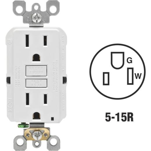 Leviton SmartlockPro Self-Test 15A White Residential Grade Rounded Corner 5-15R GFCI Outlet (3-Pack)