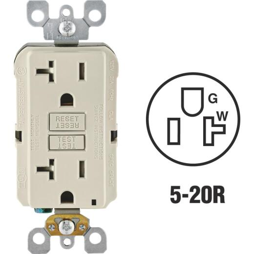 Leviton SmartlockPro Self-Test 20A Light Almond Commercial Grade Tamper Resistant 5-20R GFCI Outlet