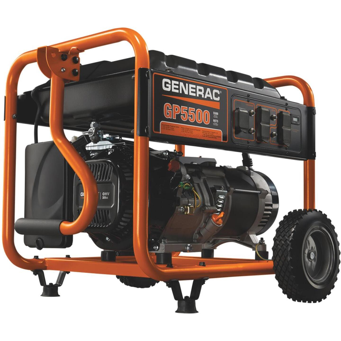 Generac 5500W Gasoline Powered Recoil Pull Start Portable Generator Image 1