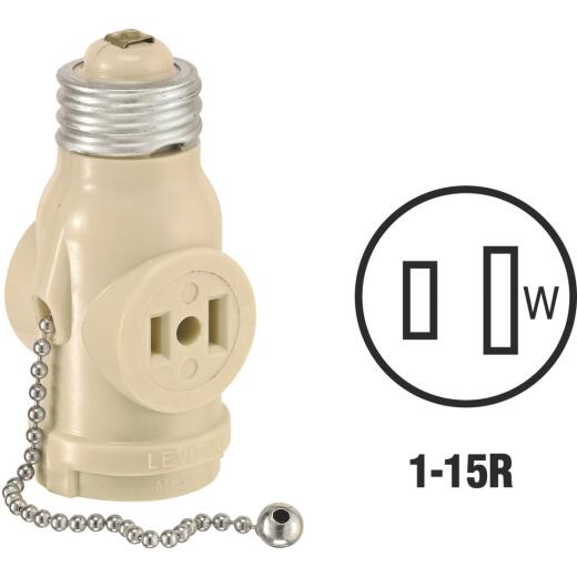Leviton Ivory 125V Pull Chain Socket Adapter