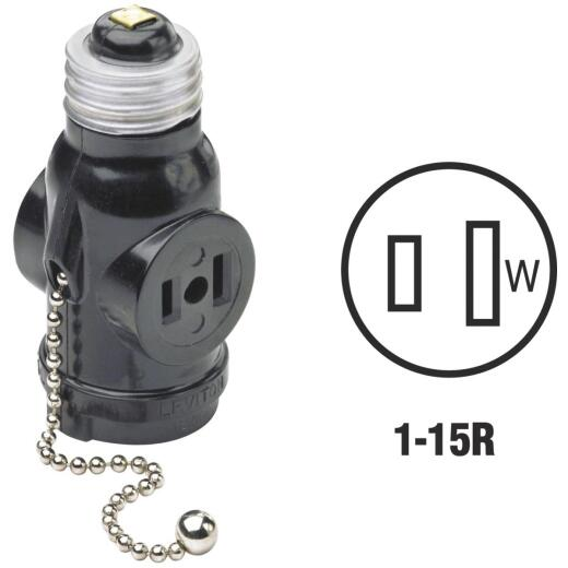 Leviton Black 125V Pull Chain Socket Adapter