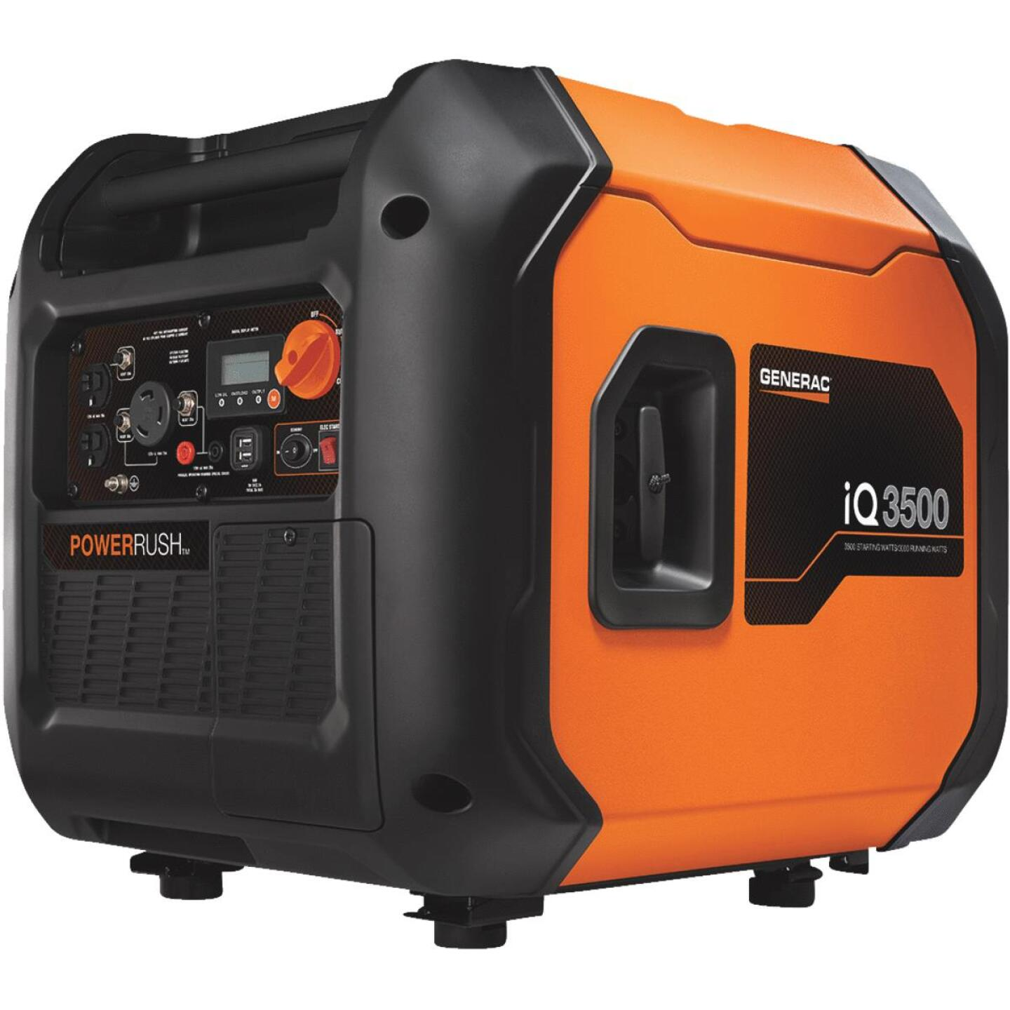 Generac iQ3500 3000W Gasoline Powered Portable Electric/Recoil Pull Start Inverter Generator Image 1