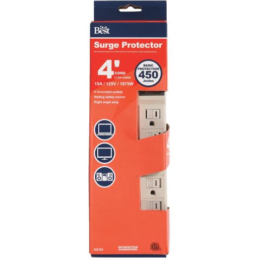Do it Best 6-Outlet 450J Tan Power Surge Strip with 4 Ft. Cord