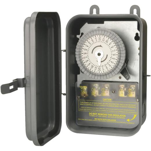 Woods Wire 40A 120VAC Gray DPST Outdoor Timer