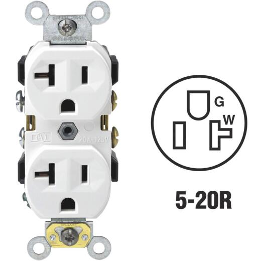 Leviton 20A White Heavy-Duty 5-20R Duplex Outlet