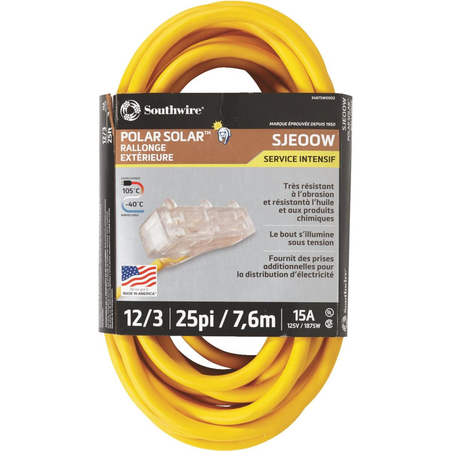 Coleman Cable Polar Solar 25 Ft. 12/3 Cold Weather 3-Outlet Extension Cord Image 3