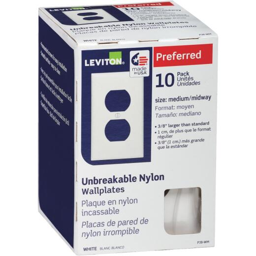 Leviton Mid-Way 1-Gang Thermoplastic Nylon Outlet Wall Plate, White (10-Pack)