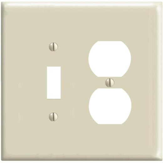 Leviton Mid-Way 2-Gang Thermoplastic Nylon Single Toggle/Duplex Outlet Wall Plate, Ivory