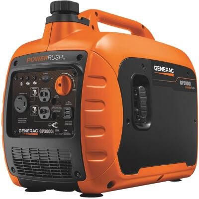 Generac GP3000i 2300W Gasoline Powered Portable Recoil Pull Start Inverter Generator