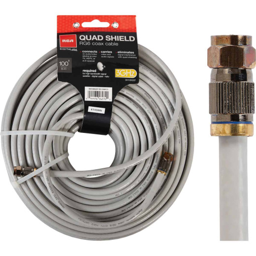 RCA 100 Ft. White RG6U Quad Shield Coaxial Cable