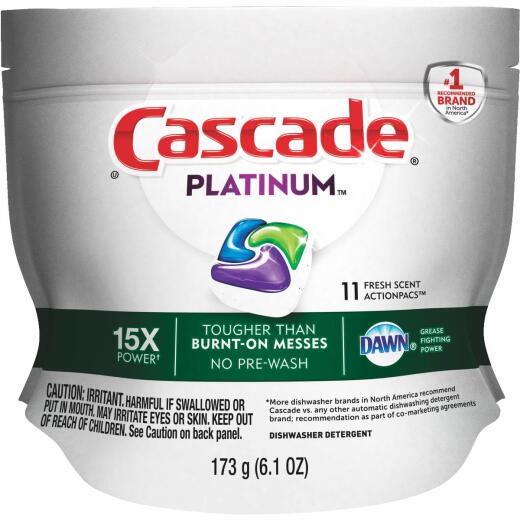 Cascade Platinum Action Pacs Fresh Dishwasher Detergent Tabs, 11 Ct.