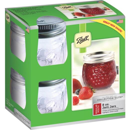 Ball Collection Elite 8 Oz. Glass Jam or Jelly Jar, (4-Pack)