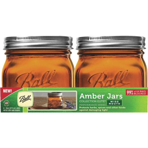 Ball Collection Elite Pint Wide Mouth Amber Canning Jar (4-Count)