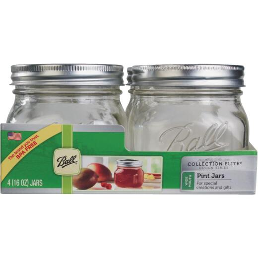 Ball Collection Elite 1 Pint Wide Mouth Mason Canning Jar (4-Count)
