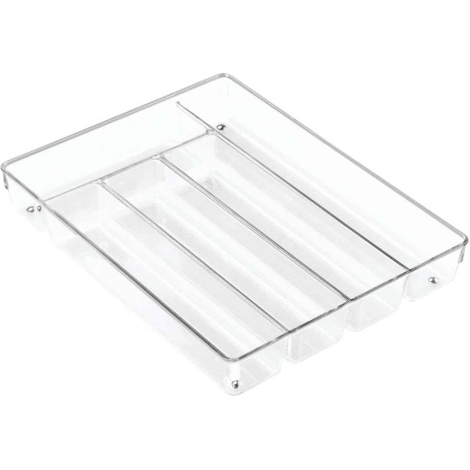 iDesign Linus 10.75 In. W. x 13.75 In. L. x 2 In. D. Clear Cutlery Tray