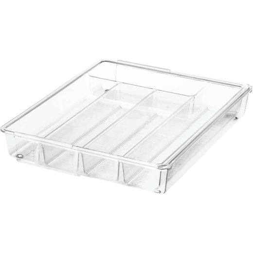iDesign Linus 11.25 In. W. x 14.25 In. L. x 2.25 In. D. Clear Cutlery Tray