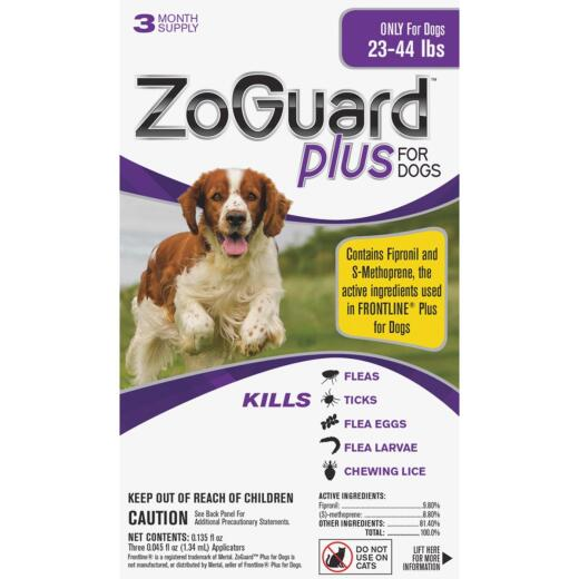 ZoGuard Plus 3-Month Supply Flea & Tick Treatment For Dogs 23 Lb. to 44 Lb.